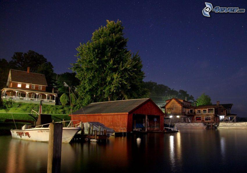 Hafen, Boot, Häuser