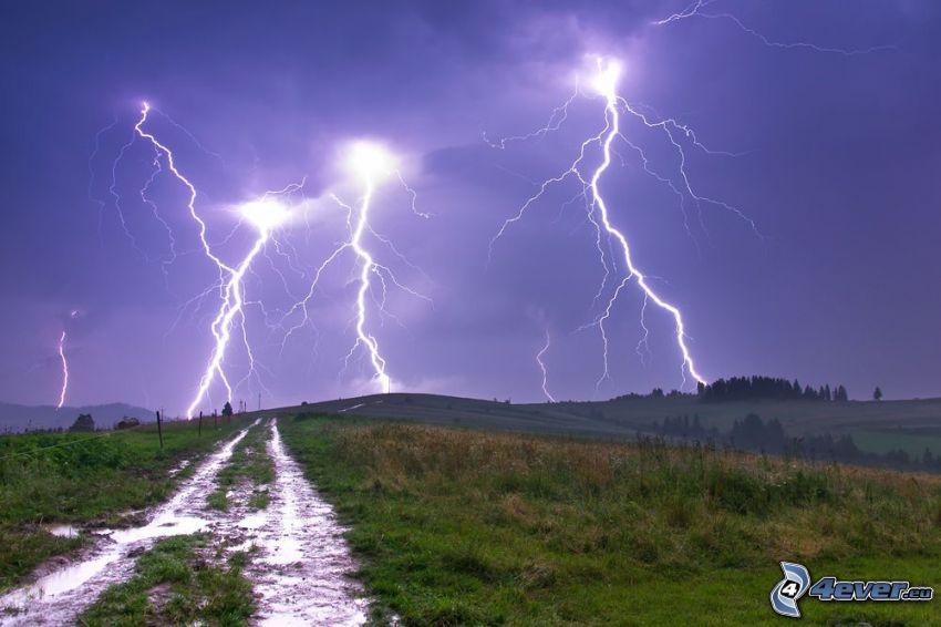 Blitze, Feldweg