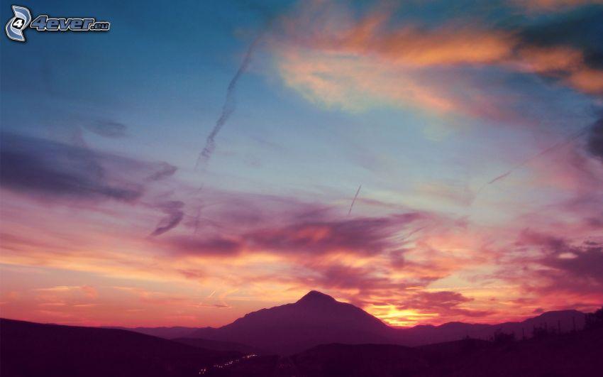nach Sonnenuntergang, Hügel, Wolken, Horizont
