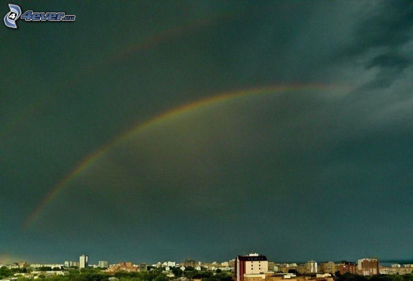 Regenbogen, Wolken, Blick auf die Stadt