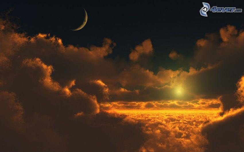 schwache Sonne, Wolken, Mond