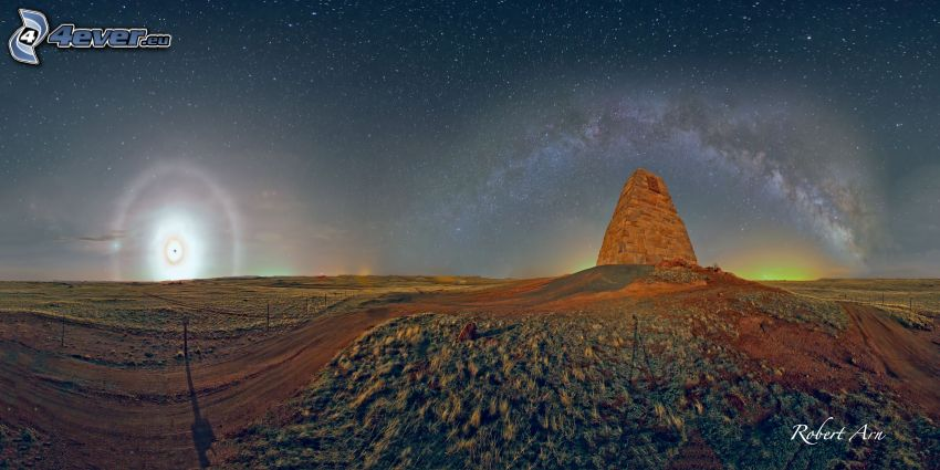 Sternenhimmel, Nacht, Hügel