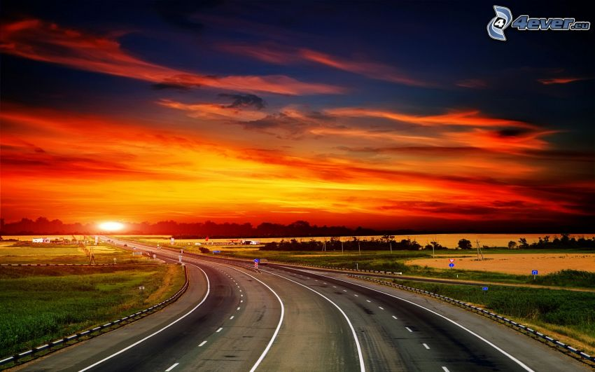Straße, orange Sonnenuntergang