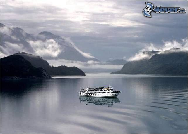 Ausflugsschiff, Fjord, Meer, Wasser