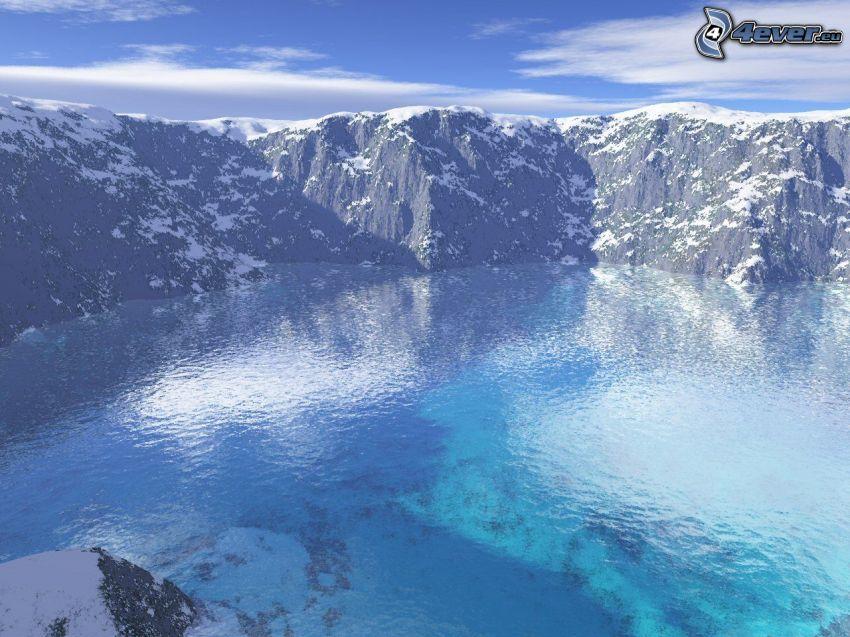 digitale Landschaft, Meer, Klippe, Schnee