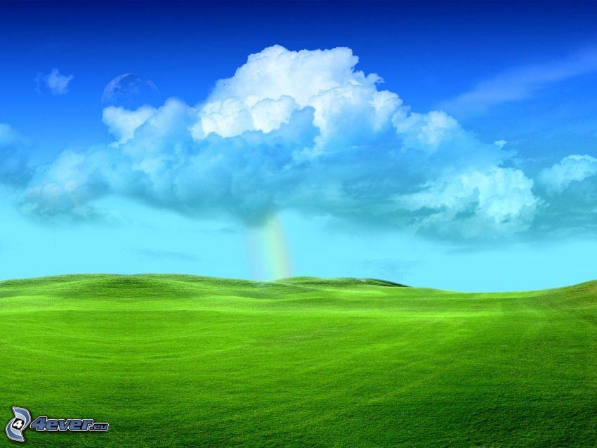 Feld, Wiese, Himmel, Wolke, Regenbogen