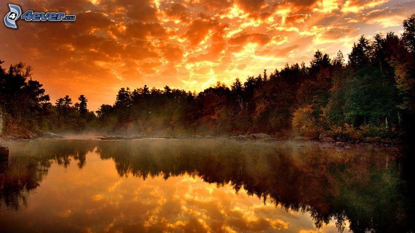 orange Sonnenuntergang, See im Wald, ruhige Wasseroberfläche, Spiegelung, Nadelwald