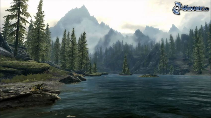 See, Nadelbäume, hohe Berge
