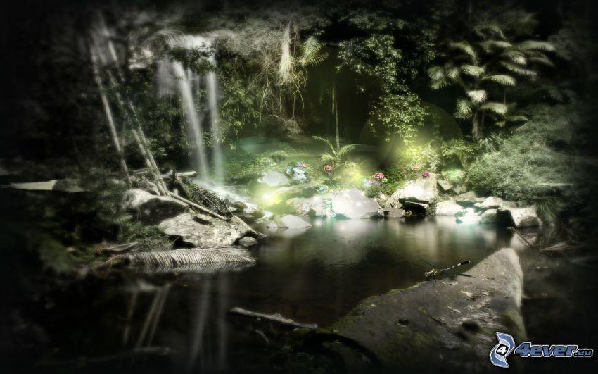 See im Wald, Urwald, Libelle, Dschungel