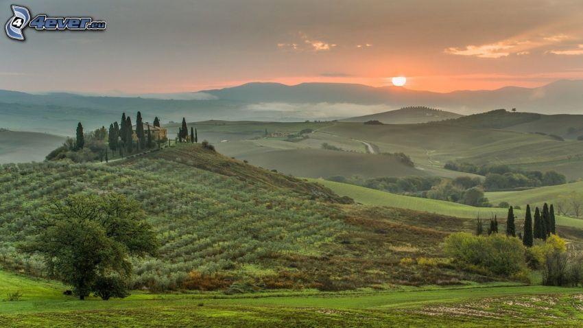 Sonnenuntergang hinter dem Hügel, Wiesen, Berge