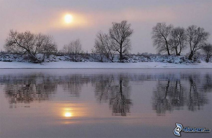 Sonnenuntergang im Winter, Fluss