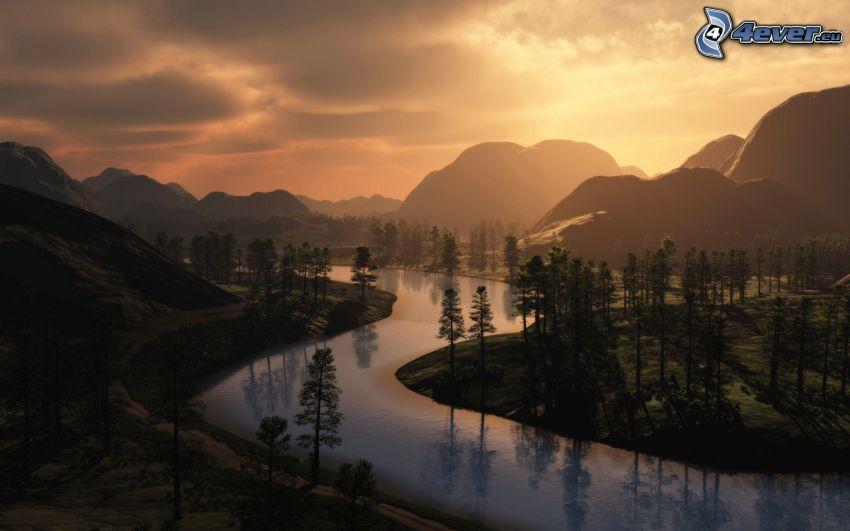 Sonnenuntergang über dem Fluss, Bäume, Hügel
