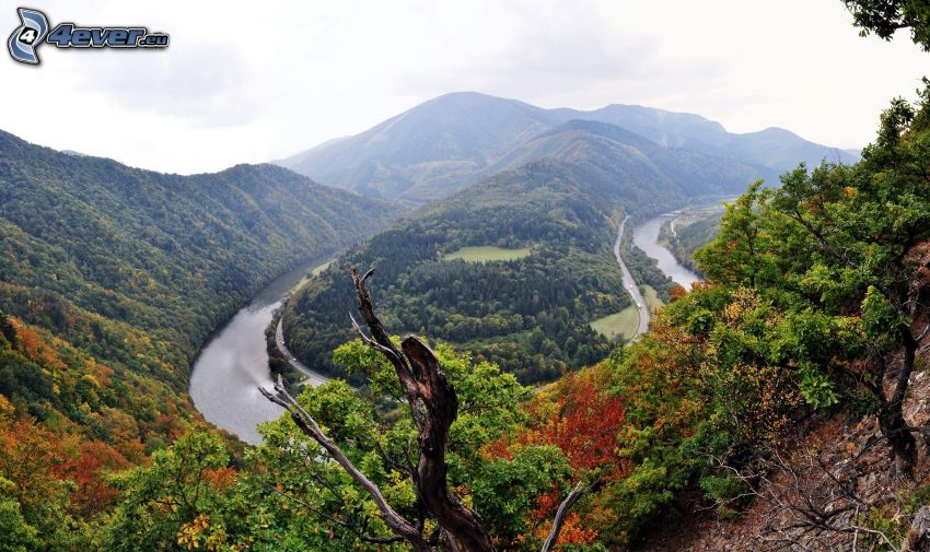 Waag, Slowakei, Fluss, Berge