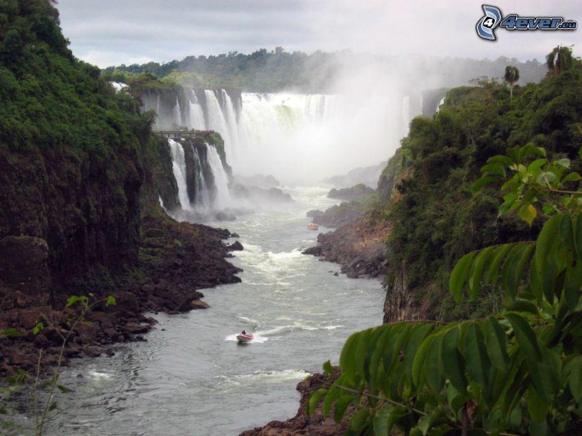 Wasserfälle, Urwald, Fluss, Boot