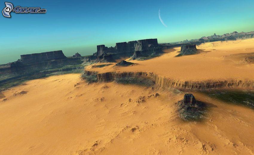 Wüste, Felsen, Mond