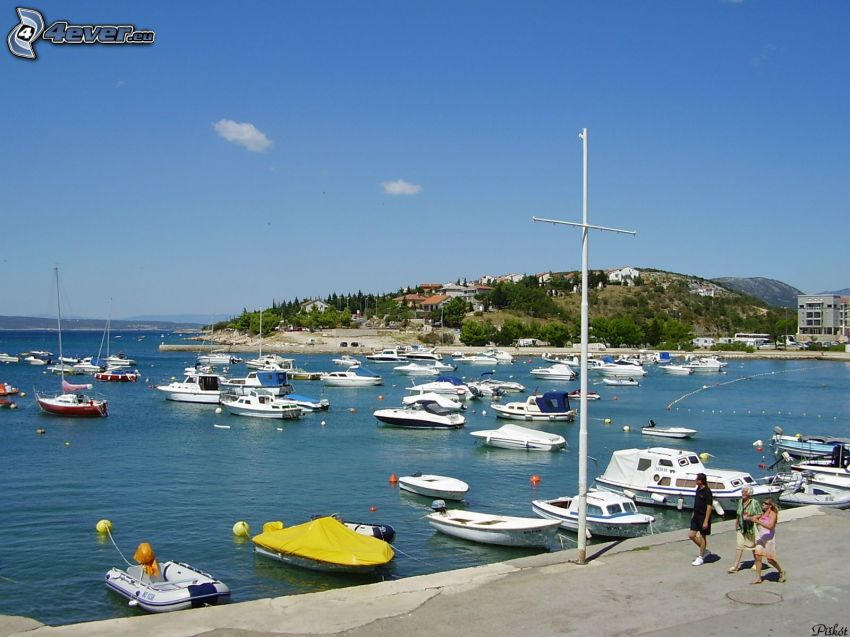 Yachthafen, Meer, Boote