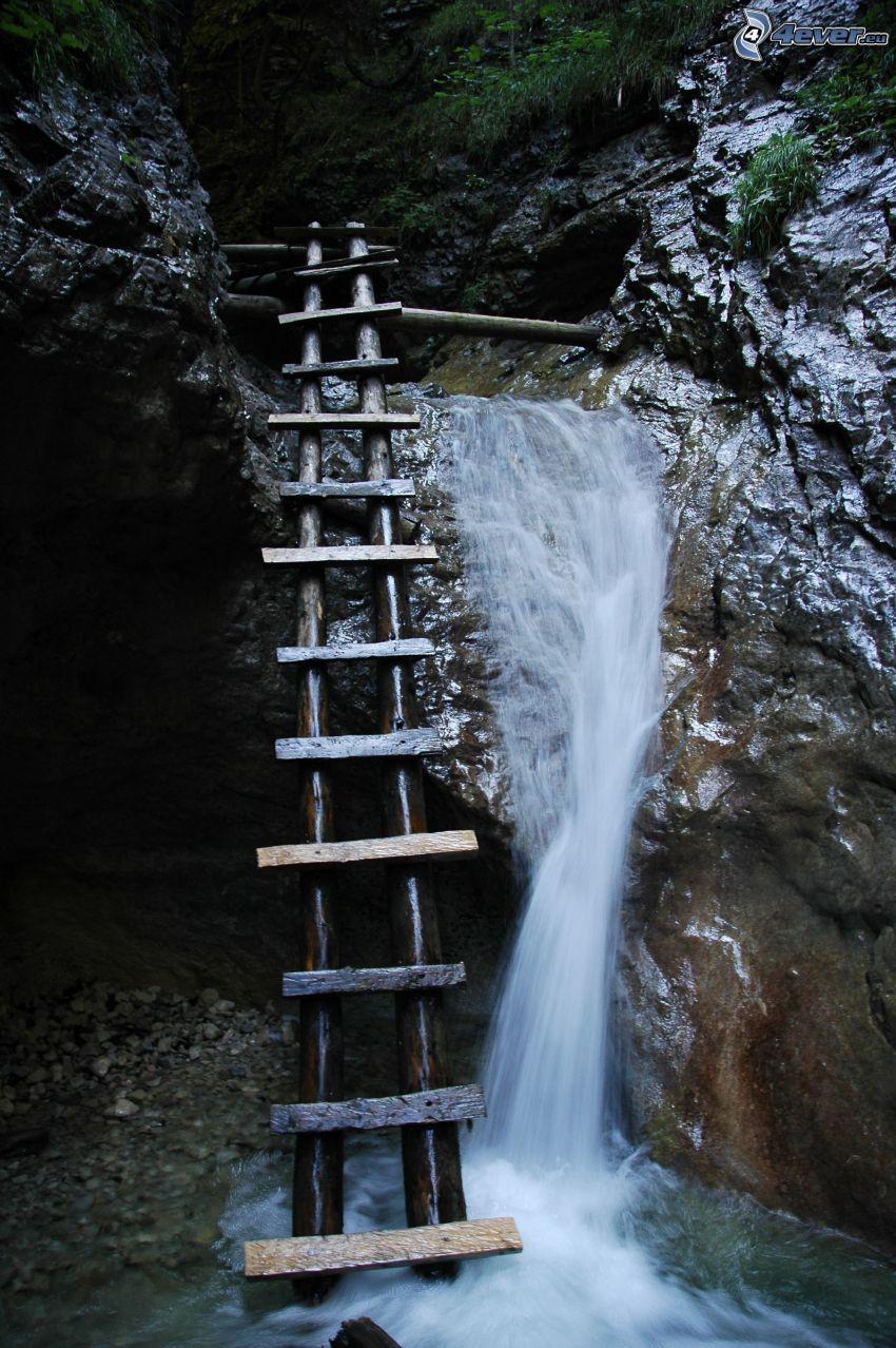 Leiter, Wasserfall, Slowakisches Paradies