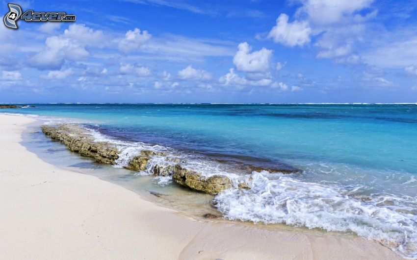 azurblaues Meer, Sandstrand