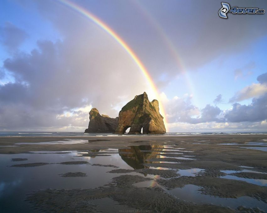 Felsen, Meer, Strand, Regenbogen, Wolken