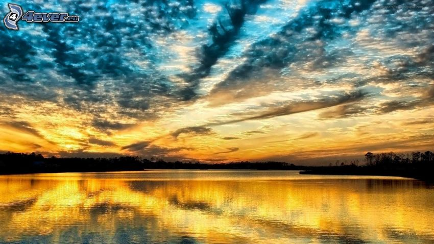 Himmel, See, Spiegelung