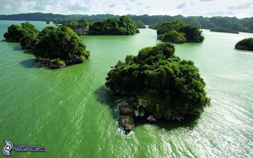 Inseln, grünes Meer
