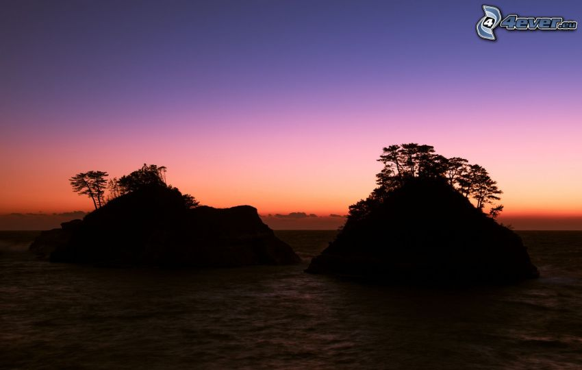 Inseln, Meer, nach Sonnenuntergang, Abendhimmel