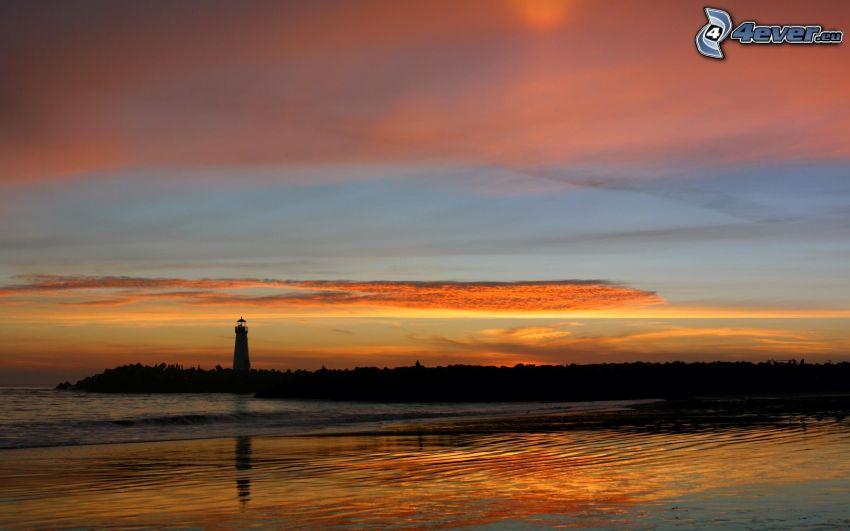 Leuchtturm, Silhouette, Küste, orange Himmel
