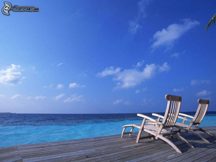 Liegestühle, Meer