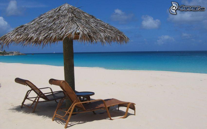 Liegestühle, Strand, Meer