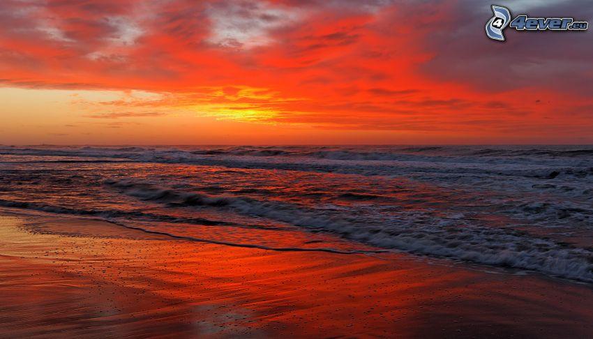 Meer, Abendhimmel, Strand