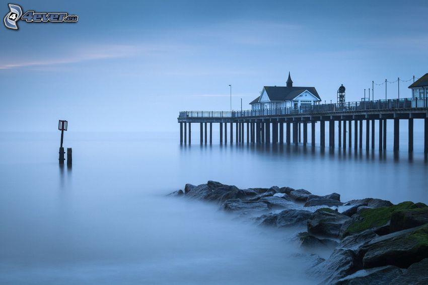 Meer, Pier, Haus, Boden Nebel