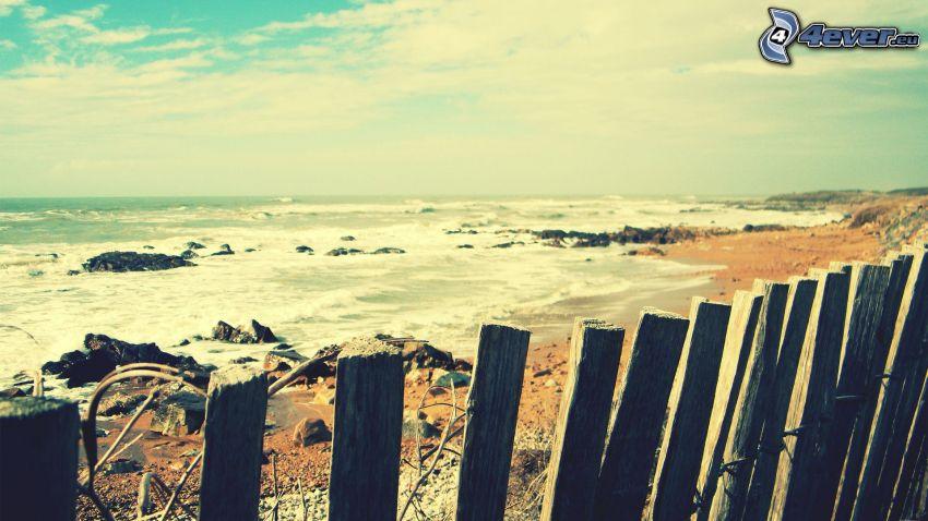 Meer, Strand, alten Holzzaun