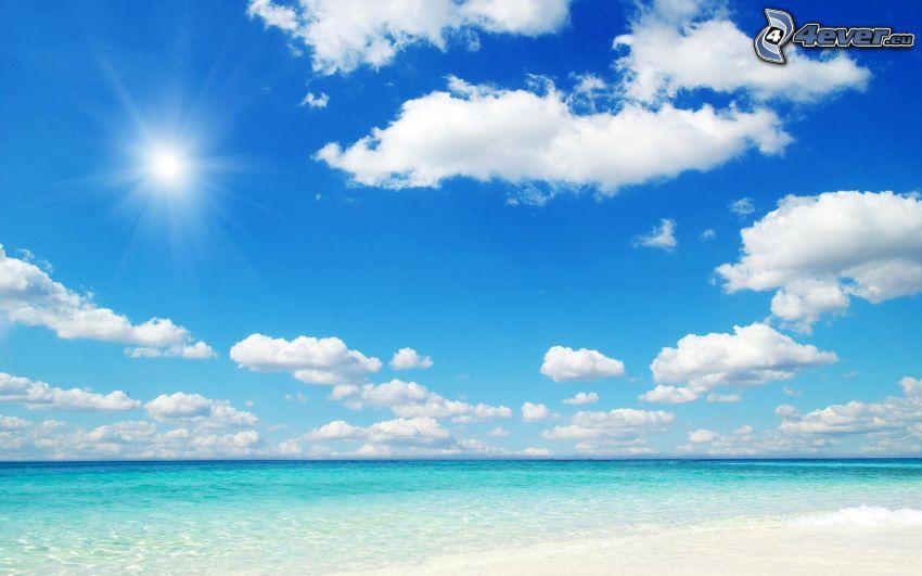 Meer, Strand, Wolken, Sonne