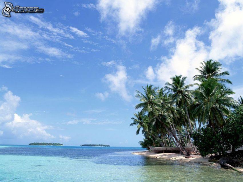 Palmeninsel, Strand, azurblaues Meer, Lagune, Ozean, Himmel, Holzboot