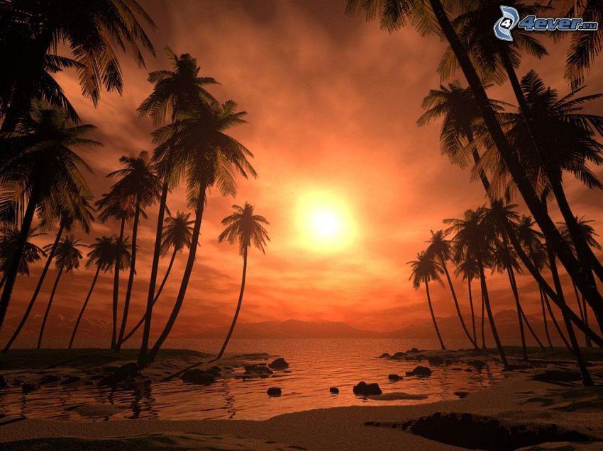 Sonnenuntergang über dem See, Palmen am Strand, großer See, Digitale Wasserlandschaft