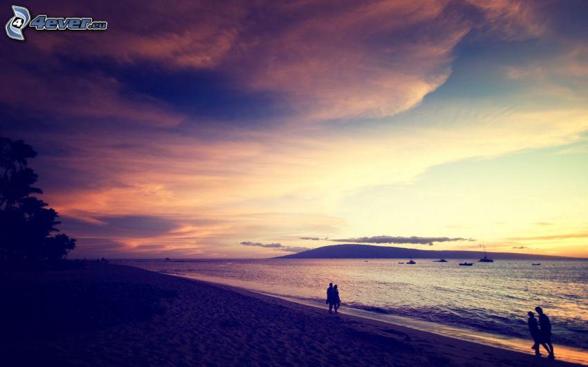 Strand, Meer, Abendhimmel