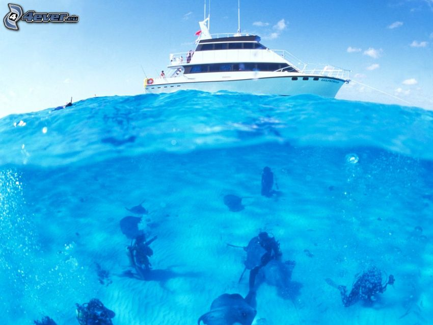 Taucher, Yacht, azurblaues Meer, Cayman Islands