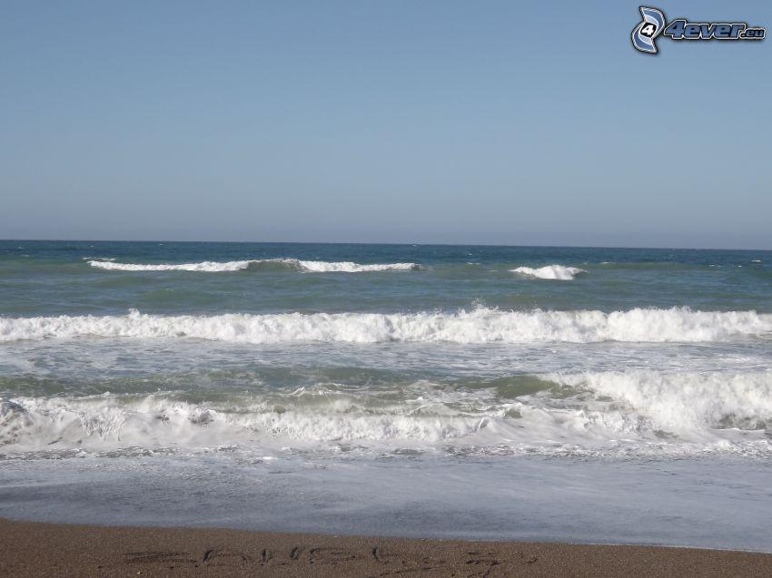 Wellen an der Küste, Meer, Strand