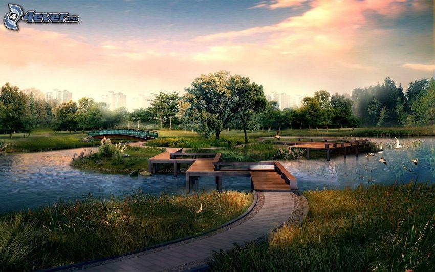 Park bei Sonnenuntergang, See, Gehweg, Inselchen