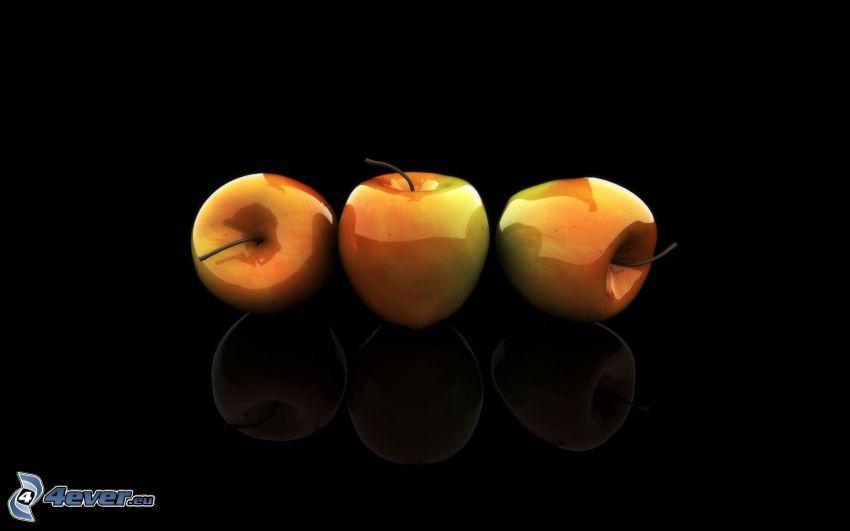 Äpfel, schwarzem Hintergrund