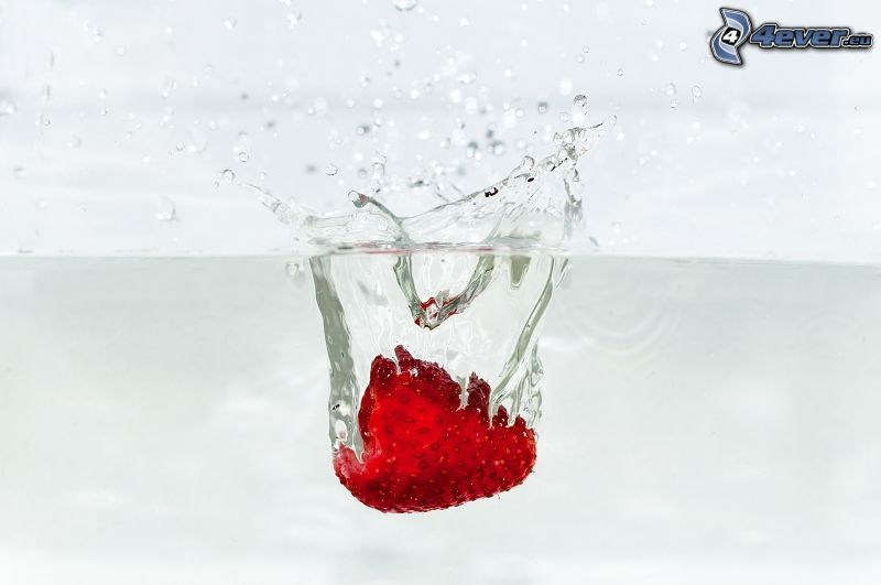Erdbeere, Wasser, splash