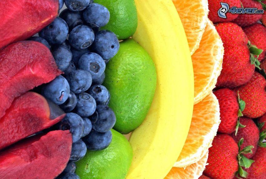 Obst, Blaubeeren, Limetten, Banane, orange, Erdbeeren