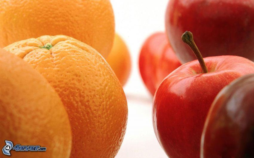 Obst, orangen, rote Äpfel