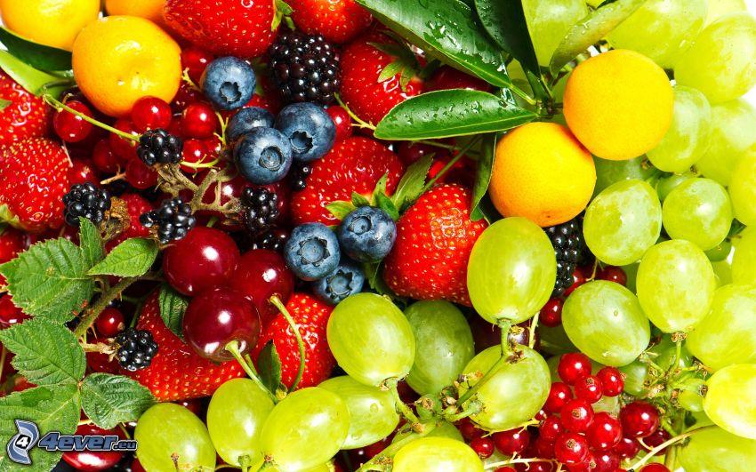 Obst, Trauben, Kirschen, Erdbeeren, Blaubeeren, Johannisbeeren