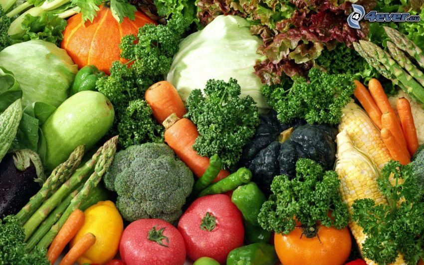 Gemüse, Brokkoli, Karotte, Tomaten, Salat, Kürbise, Mais, Paprika