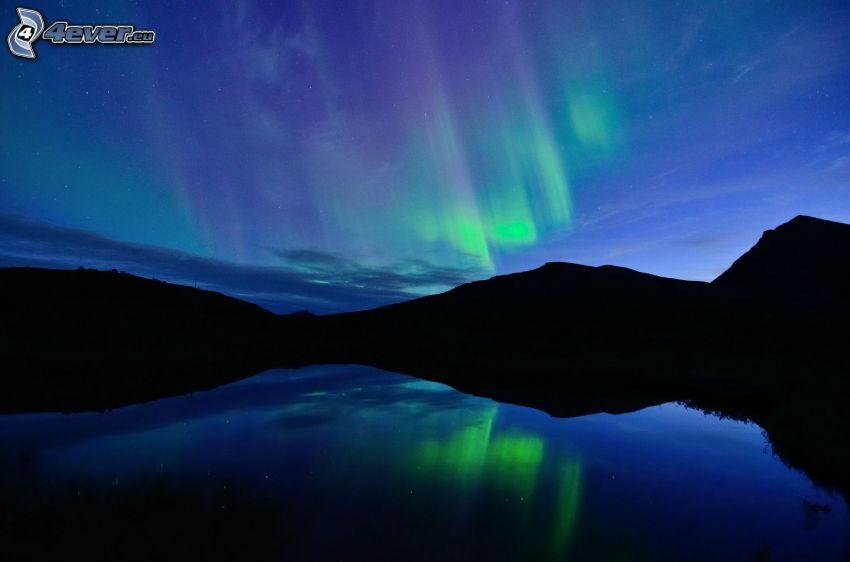 Polarlicht, Berge, See