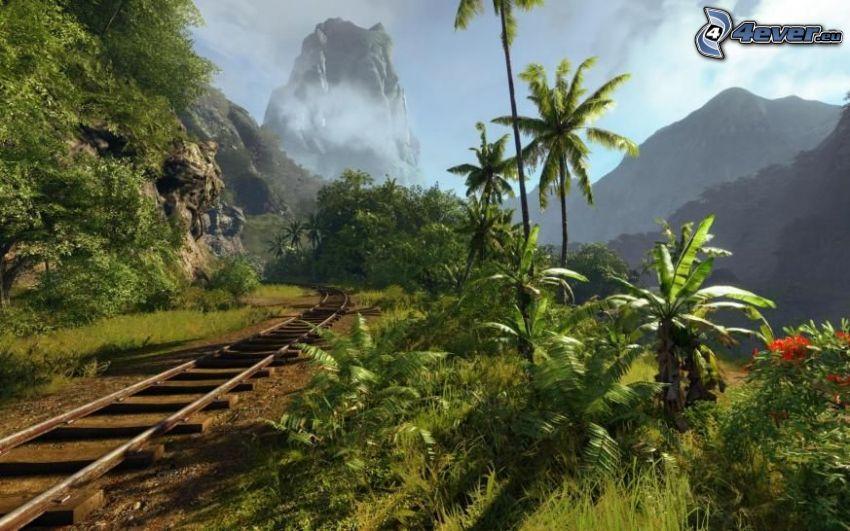 Schienen, Palmen, felsiger Berg