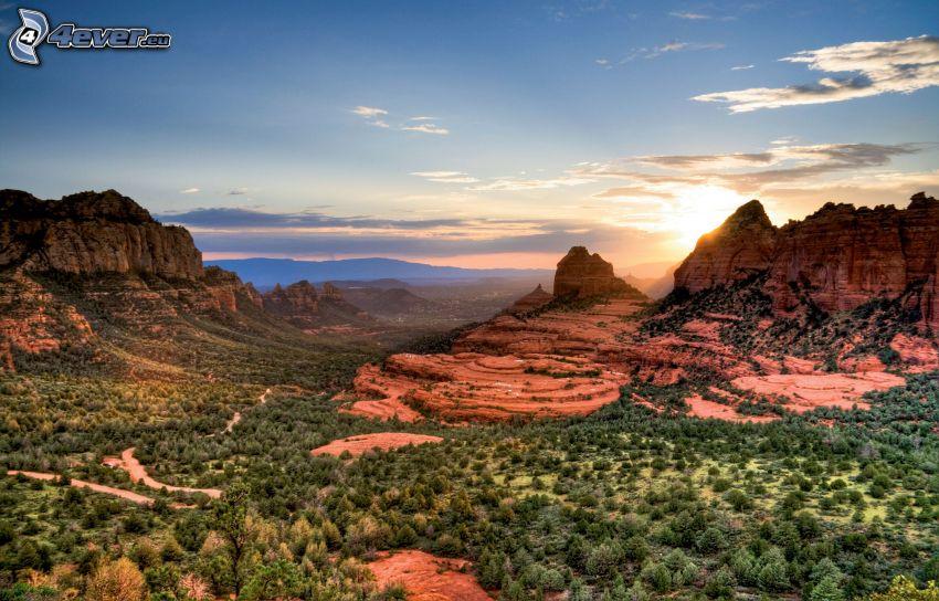 Sedona - Arizona, Felsen, Sonnenuntergang, Tal
