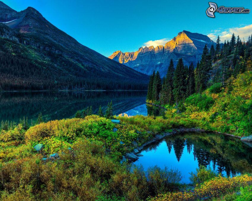 See, felsige Berge, Bäume, Pflanzen