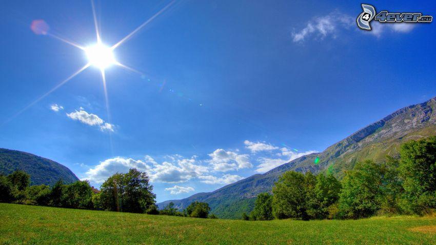 Sonne, Berge, Wiese